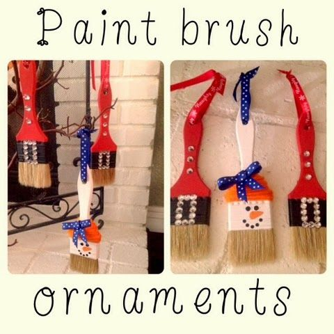 paint brush santa ornaments | First up are these adorable paint brush ornaments.