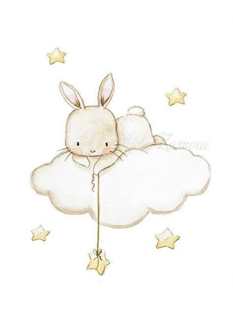 "Nursery Art ""BUNNY FISHING STARS"" Art Print, Bunny…"
