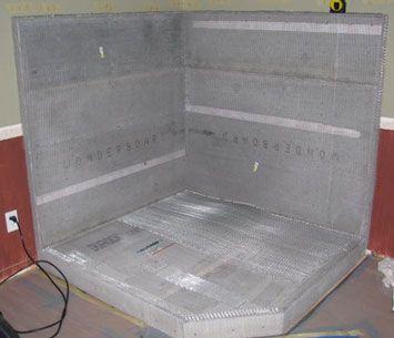 wood stove hearth construction -- concrete board