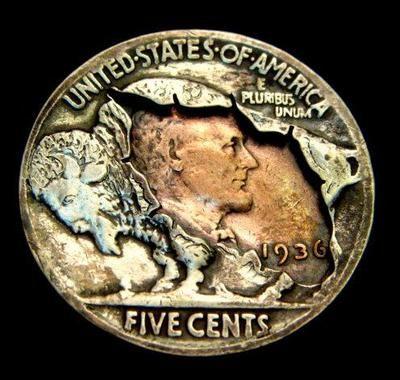 """Hobo Nickel """"The Hidden Truth"""" Peekaboo Coin by Howard ThomasHobonickel, Hobo Nickel, Coins Art, Carvings, Peekaboo Coins, Altered Coins, Hobo Coins, Howard Thomas, Hidden Truths"""