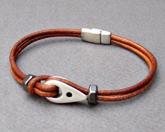 Sailor Bracelet Nautical Mens Leather Bracelet Dainty by GUSFREE