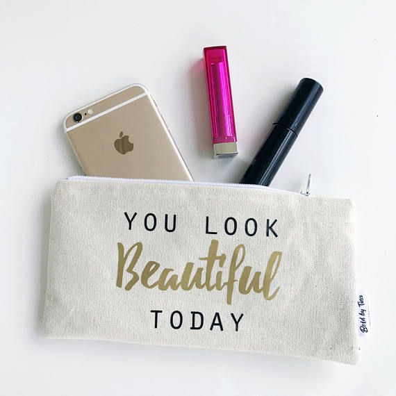 Personalized Zipper Pouch Small Makeup Bag Large