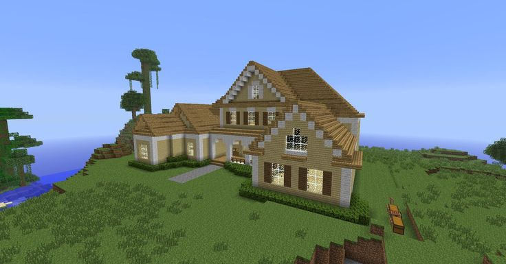 Minecraft House, Wooden: I love the simplicity, the contrasts, and that pretty front porch.