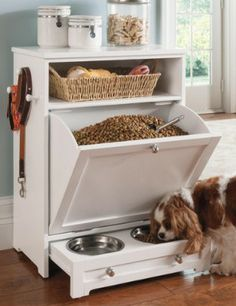 Enjoy the convenience of food, leash, and toy storage, plus a feeding