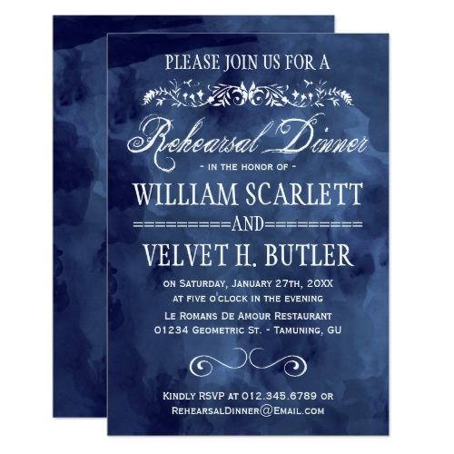 Watercolor Wedding Rehearsal Dinner Navy Watercolor Bohemian Rehearsal Dinner Card