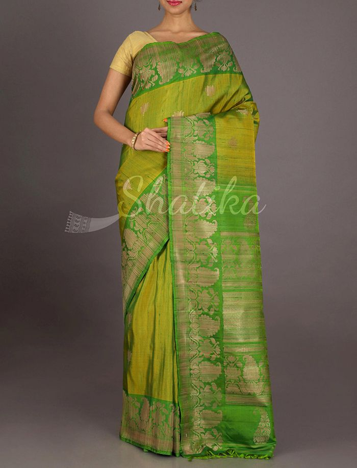 Kaira Olive And Fresh Green Festive Border #JuteSilkSaree