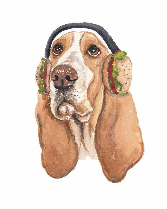 Basset Hound Dog Watercolor PRINT - 5x7 Watercolour Painting Print, Hamburger Art, Funny Dog, Hound Illustration