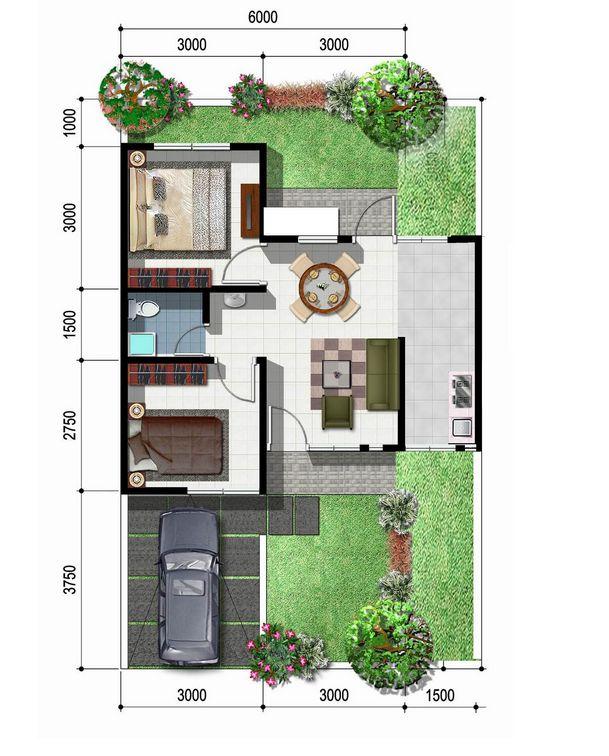 model denah rumah type 45