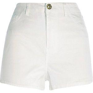 White high waisted Nori denim shorts