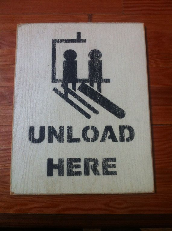 Vintage Sign Unload Here Skiing and Snowboarding by CopperUmbrella, $21.00