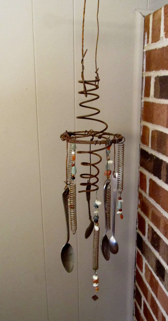 Rustic Wind Chime by GardenUpgreen on Etsy, $35.00  Love it made from Bed Springs!
