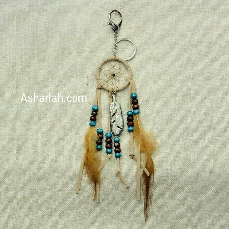 Boho style feathers beads leather dreamcatcher keychain