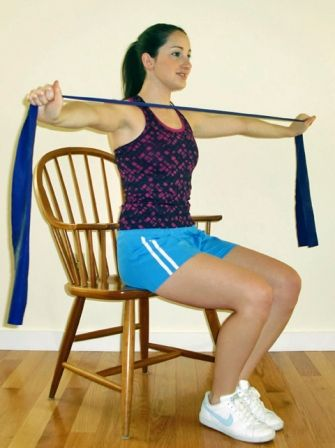 wheelchair arm exercises | ... resistance band workouts in chair at work workout exercise fitness