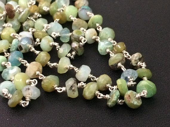 Green Opal Faceted Rondelle Beads in 925 Silver by gemsforjewels