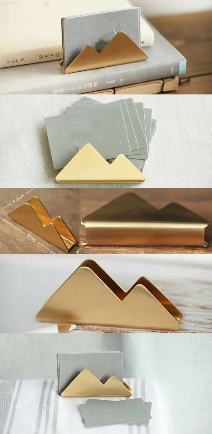 wood wedding card holders%0A Business Card Holder Modern Brass clouds Style Business Card Holder Wedding  Place Card Holders For Office