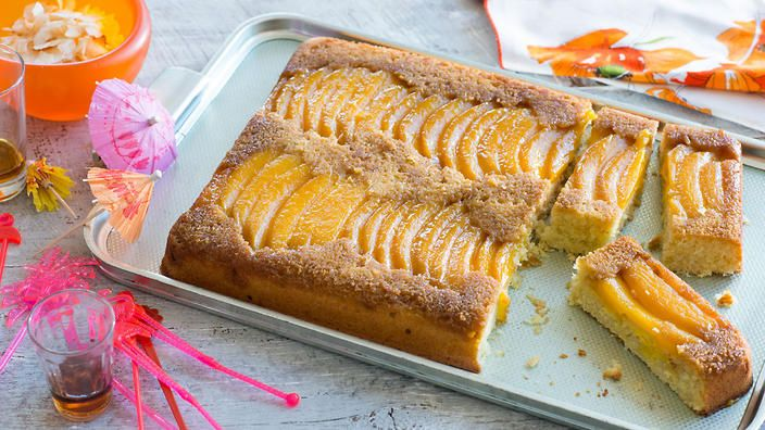Upside-down mango and coconut cake | Together, mango and coconut are the true taste of summer. This crowd-pleasing cake is fabulous either served warm or at room temperature, with or without cream or ice-cream.