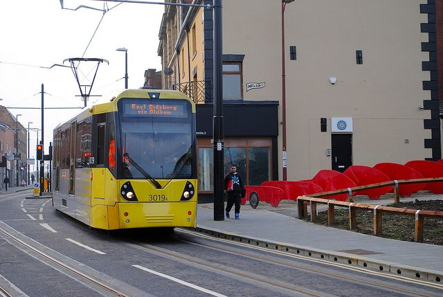 Rochdale town centre opening. 3019 passing tribute to Rochdale Olympic cars. by trambosqueen, via Flickr