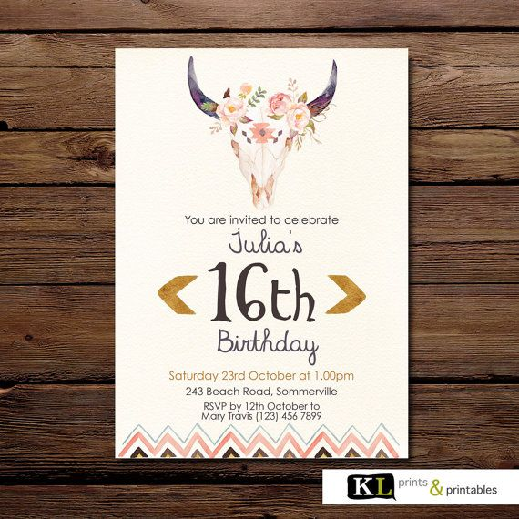 Birthday Invitation  Tribal Invitation  by KLprintsandprintable