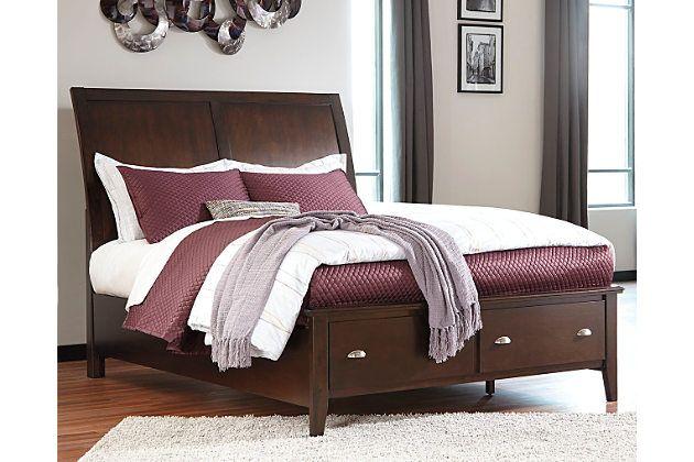 Evanburg Queen Sleigh Bed with Storage by Ashley HomeStore, Brown