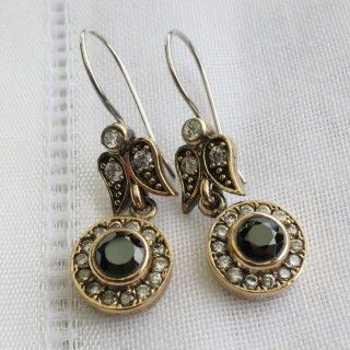 turkish onyx and cubic zirconia vintage style earrings 925 sterling