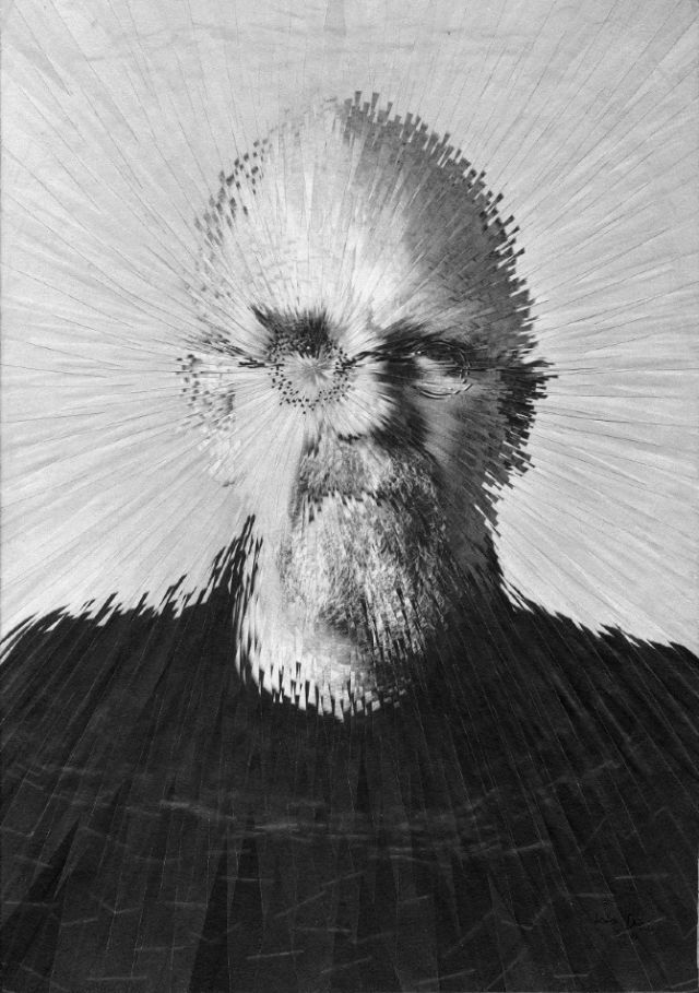 Chuck Close, paper collage on panel, 21.1x30.3cm