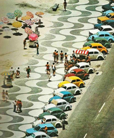 """The creator says """"I love this picture of Copacabana Beach in the '70s—few do summer better than the Cariocas (natives of Rio de Janeiro). The classic colors of the Volkswagen Bugs here really impacted my collection for J.Crew—I don't think anyone should ever shy away from a pop of color in the summertime."""" 