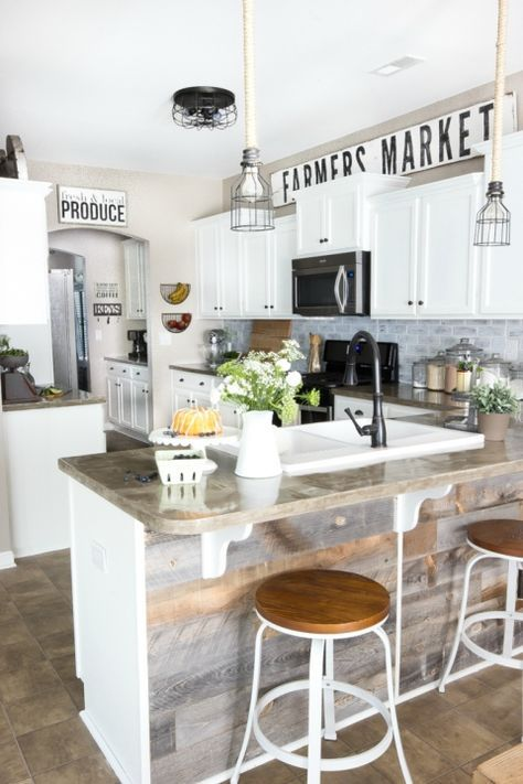 Modern Farmhouse Kitchen Makeover Reveal   http://blesserhouse.com - So many budget-friendly DIY projects packed into one kitchen!