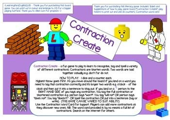 LEGO Contraction Create  KIDS WILL LOVE THIS ONE - a fun game to play to learn to recognise, say and spell a variety of different contractions. Contractions are shorten words. Two words are said together casually e.g. dont for do not.Players pracitse saying full contractions or shortened contractions.