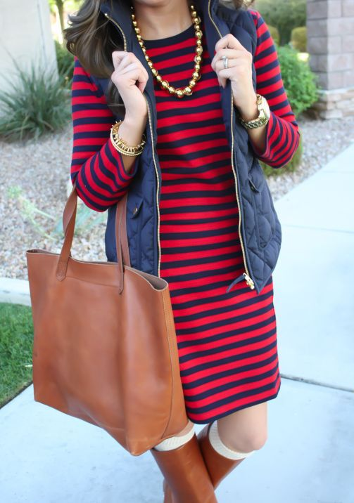 Want this dress!  Red and black striped dress with vest. Love the necklace.  Stitch fix fall 2016. Stitch fix winter 2016.