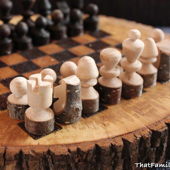 custom giant chess set | Custom Made Rustic Chess Set