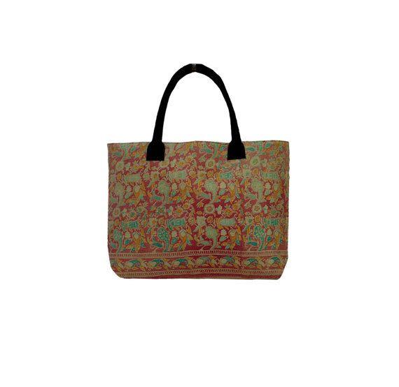 Handmade Sari Kantha Women's Shopping Bag Vintage by MyCraftPalace