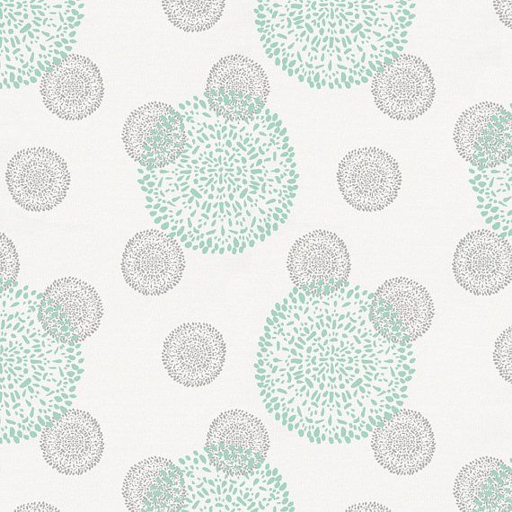 Mint and Silver Gray Dandelion Organic Fabric By The Yard
