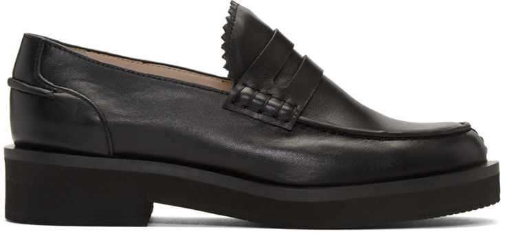 JIL SANDER Black Leather Galaxy Loafers. #jilsander #shoes #flats
