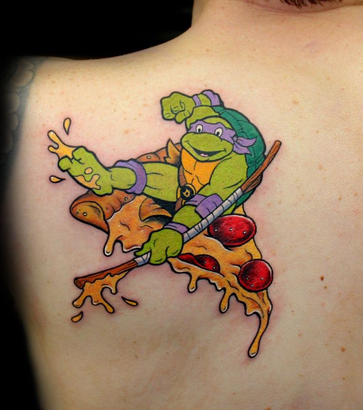 TMNT Donatello pizza tattoo by Chris 51 of Area 51 Tattoo, Springfield, OR & Epic Ink TV A&E