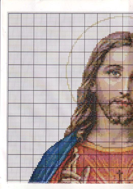 Punto de cruz: Sagrado Corazón de Jesús 1/4