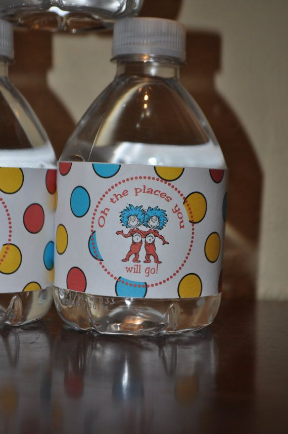 Printable Dr. Suess inspired Water Bottle by partyhardydesigns,Instant Download. Oh the places you'll go. Graduation, birthday, baby shower.