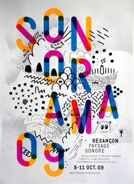 French festival poster: This striking poster is from Paris-based designers Thomas Couderc and Clément Vauchez who operate under the name Helmo.
