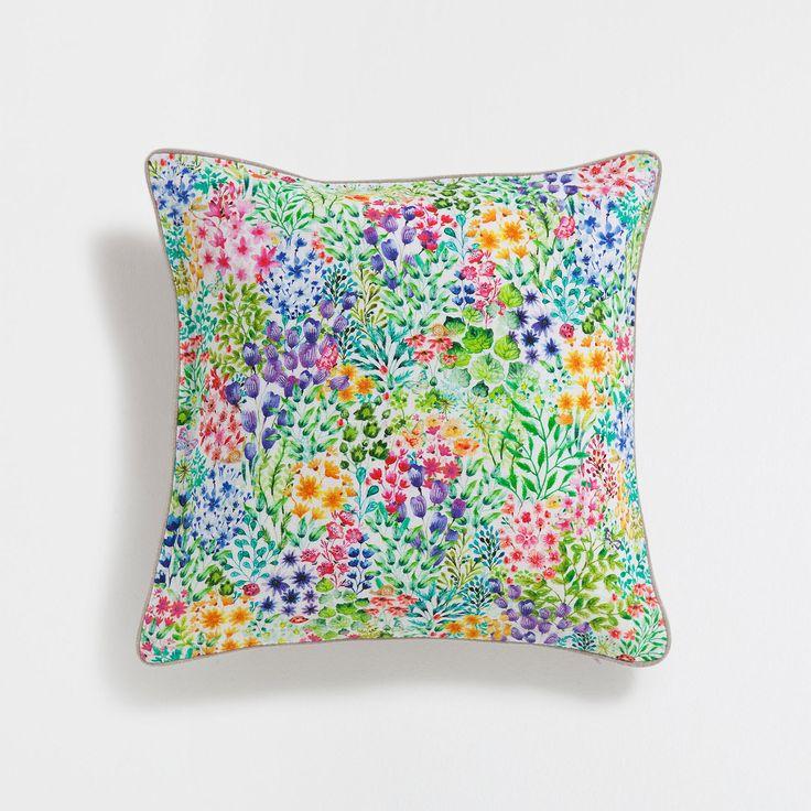 Multicoloured print linen cushion cover