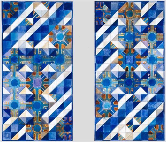 Querubim Lapa | Projecto para painéis na Embaixada de Portugal em Brasília / Project for panels at the Embassy of Portugal in Brasilia | 1976 | MNAz, P-6 #Azulejo #QuerubimLapa #MNAz #Brasil #Brazil