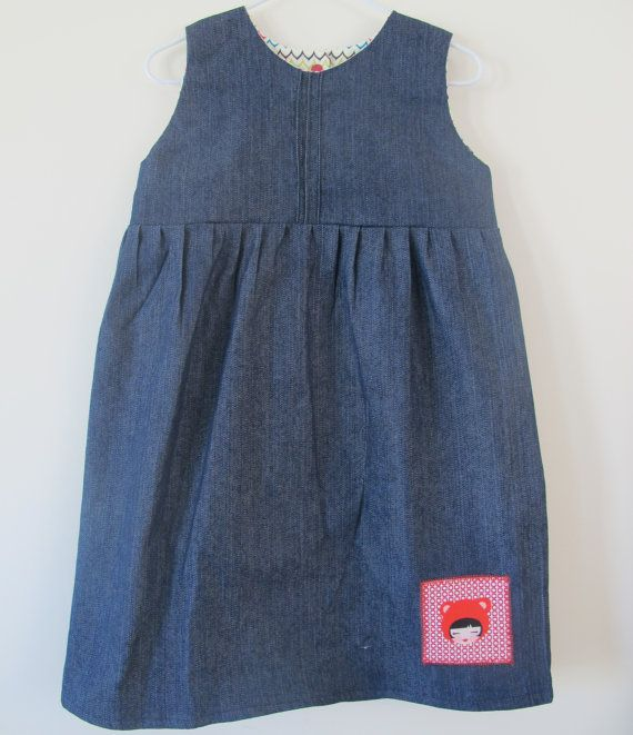 Girls Dress  Denim with cute girl in bear hat motif.  by orcwood, $29.00