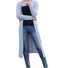 Nueva Moda 2017 No Venta Gris Negro de la Rebeca de Las Mujeres Suéter Ocasional Más Tamaño Capa de Las Mujeres Largas Suéteres Cardigans B018(China (Mainland))