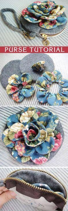 How to make tutorial vintage flower cosmetic bag purse fabric sewing quilt patchwork applique. http://www.handmadiya.com/2015/10/vintage-flower-purse-tutorial.html