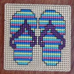 Flip Flops Summer Coasters Plastic Canvas Cross by Hunibears