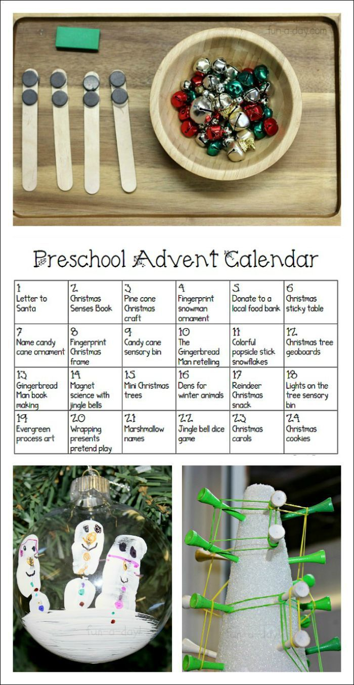 Free printable Advent calendar for preschoolers - full of fun ideas that also work on early learning skills!  #Christmas #Preschool