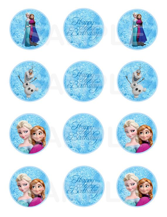 SALE 25 OFF Disney Frozen Cupcake Toppers 2 by PinkieForPink, $2.25
