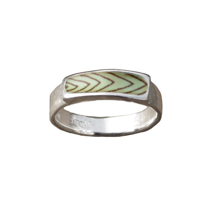 Chevron Band Ring - Unisex Chevron Design Light Green and Sepia Enamel and Sterling Silver Ring by marmarModern on Etsy https://www.etsy.com/listing/270741267/chevron-band-ring-unisex-chevron-design