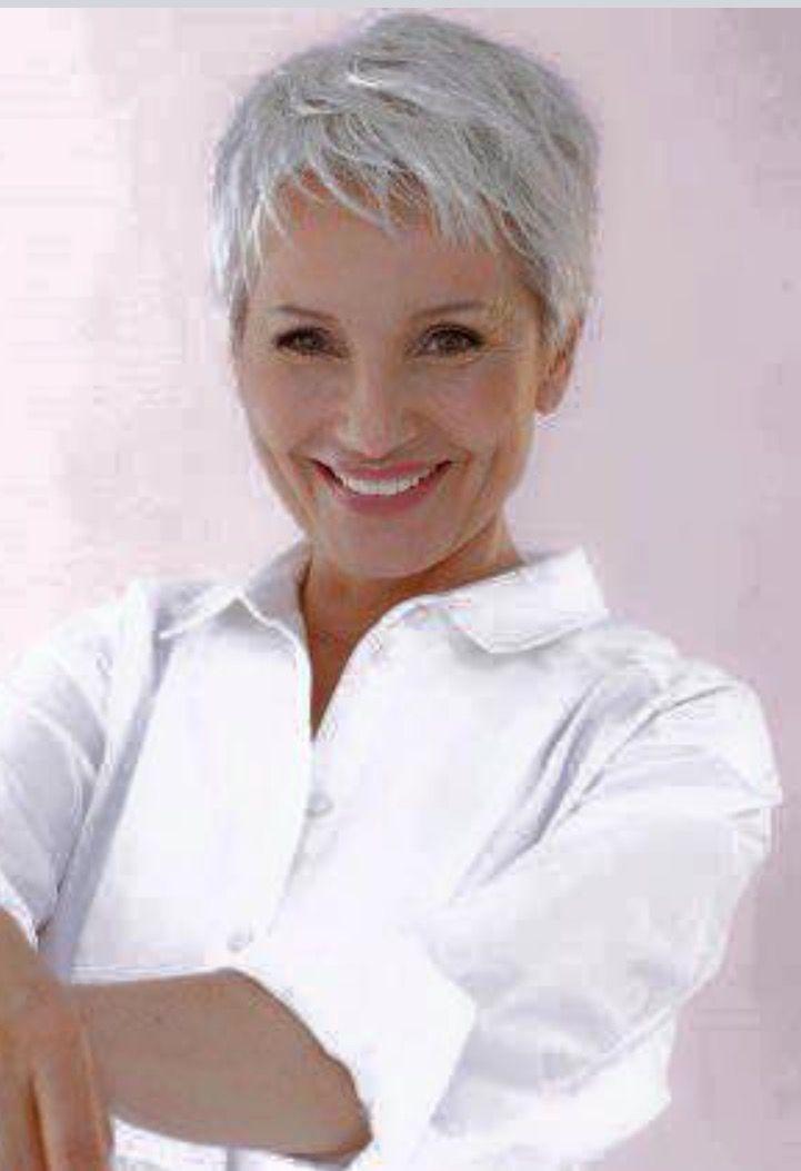 Short haircut on white hair # gray hair #pixie # high hair