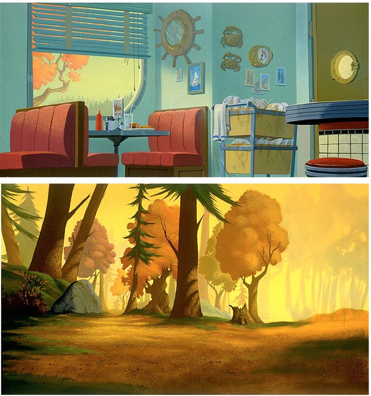 """""""The Iron Giant"""" background art by Ruben Chavez - love the color palette. Very autumn, very Maine, very '50's :)"""