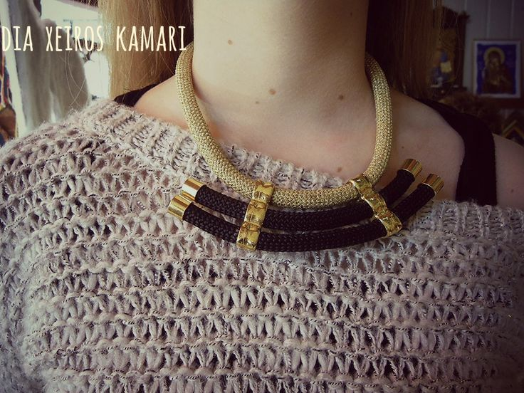 gold black necklace