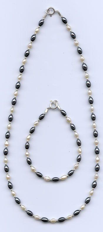 Pearl Hematite Necklace
